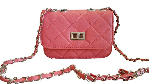 pink cross designer chain Pink style aimerfeel handbag black beige Light with long white faux and body quilted leather dZUTvvqXw