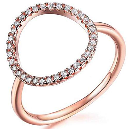 Jude Jewelers Silver Rose Gold Open Circle Karma Promise Statement Ring (Rose Gold, ()