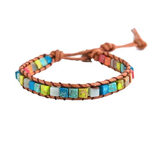 YGLINE Amazonite Handmade Wrap Bracelet Tree of Life Natural Stone Bracelet (Regalite 2)