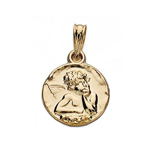 Médaille pendentif 14mm 18k ange d'or. [AA0027GR] - personnalisable - ENREGISTREMENT inclus dans le prix