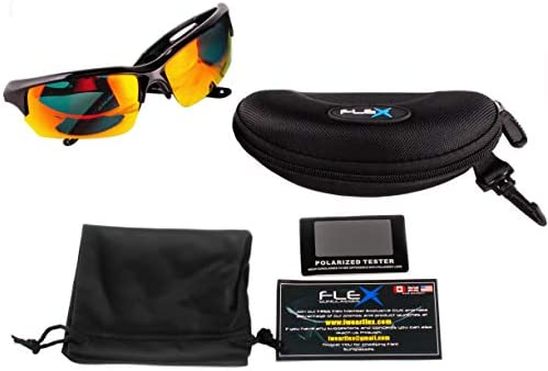 FLEX Polarized Sports Sunglasses for Men & Women. Ultra Tough Lightweight Frame w/ HD lens for Cycling Driving Fishing Golf