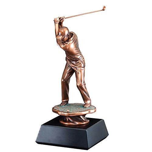 カスタマイズ可能な16インチ電気めっきinブロンズMale Golfer BackスイングTrophy , Includes Personalization B075NJ494L