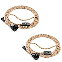 Elibbren Plug in Pendant Light Cord Kit with Switch, Vintage Hanging Light Cord with 13.12FT Twisted Hemp Rope Plug in Pendant Kit, Industrial Pendant Lighting DIY Plug in Lamp Fixture 2 Pack