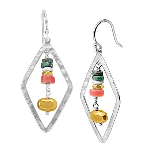 - Silpada 'Colorful Array' Open Diamond-Shaped Natural Coral & Howlite Drop Earrings in Sterling Silver & Brass