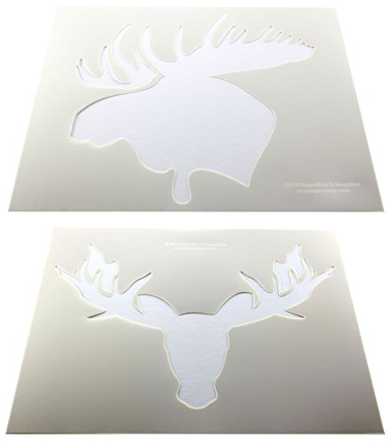 Moose Head Stencils 2 pc set F/S-Mylar 14 Mil 14