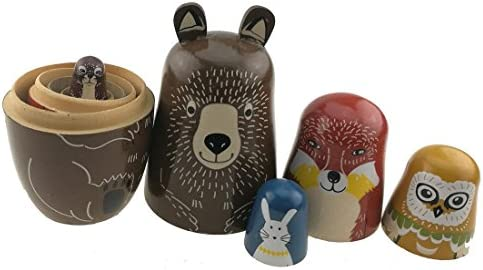Unigift Set of 5 Cartoon Bear Fox Owl Rabbit Raccoon Handmade Wooden Russian Nesting Dolls Matryoshka Dolls for Birthday Christmas New Year Gift Home Decoration Kids Toy