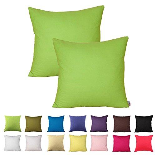 Queenie® - 2 Pcs Solid Color Cotton Decorative Pillowcase C
