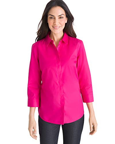 - Chico's Women's No-Iron Cotton Stain Shield Shirt Size 4 S (0) Pink