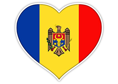 "Love Moldova flag heart sticker decal 5"" x 4"""