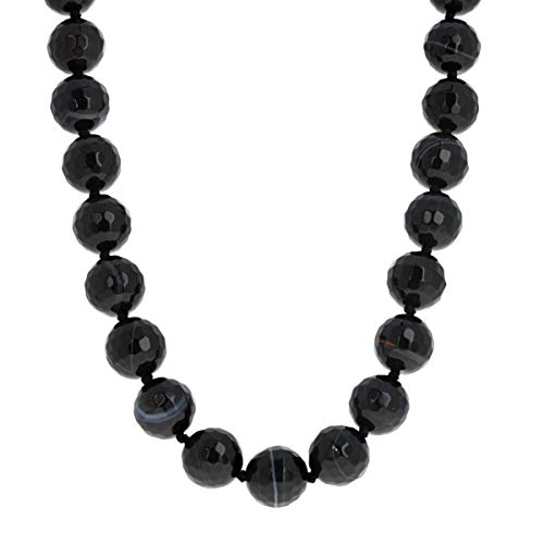 Faceted Shimmering Onyx Necklace, Sterling Silver Toggle, 20 inches Long, - Toggle Onyx
