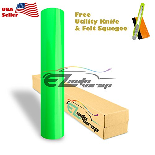 Free Tool Kit EZAUTOWRAP Gloss Fluorescent Green Car Vinyl Wrap Sticker Decal Sheet Bubble Free Neon Apple - 12