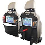 """Oasser Kick Mats Car Seat Back Protectors Back of Seat Organizers 2 Pack XL with 1 Tissue Box Clear 10"""" Ipad Holder 3 Large Storage Organizers"""