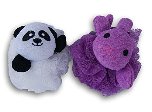 Panda Bear and Bunny Rabbit Shower Bath Pouf - Bear Bath Panda