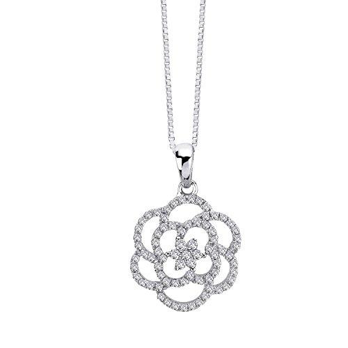 1/4 Ct Round Diamond Flower (14k White Gold Micro Pave Diamond Flower Pendant Necklace (1/4 cttw))