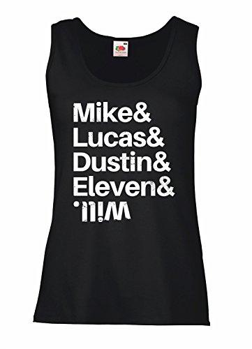 "Camiseta de tirantes mujer ""Muke & Lucas & Dustin & Eleven & Will"" - Stranger Things 100% algodòn LaMAGLIERIA"