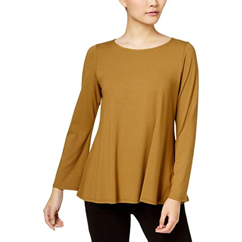 (Eileen Fisher Womens Ballet Neck Long Sleeves Pullover Top Green M)