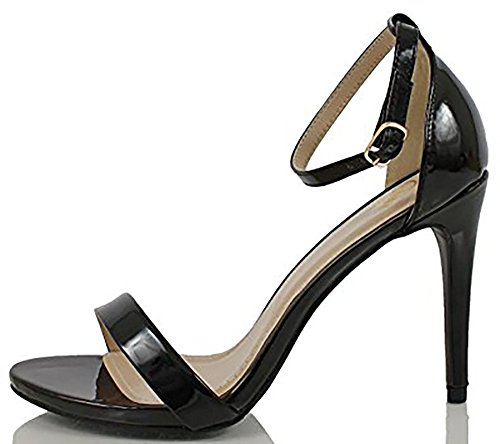 Delicious Women's Jaiden Faux Nubuck Leather Wide Strap Single Sole Heels Black Pat 6...