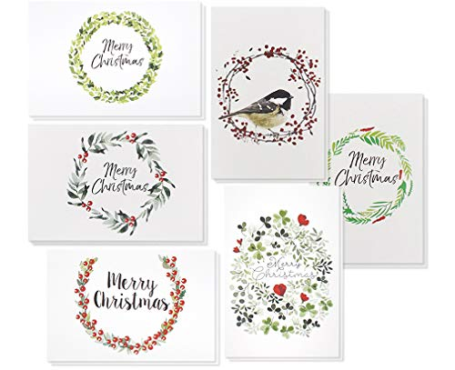 Beautiful Holiday Wreath - 36-Pack Merry Christmas Greeting Cards Bulk Box Set - Winter Holiday Xmas Greeting Cards with Beautiful Wreath Designs, Envelopes Included, 4 x 6 Inches