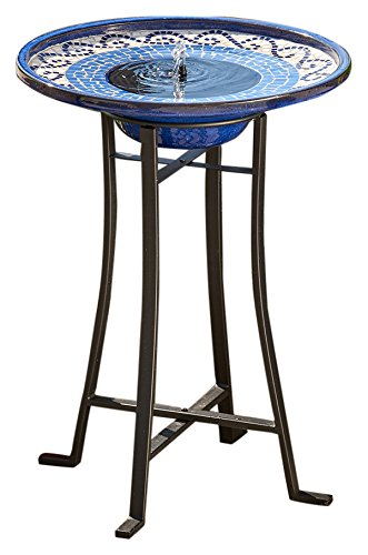 Smart Solar 20747R01 Mosaic Style Birdbath with Metal Stand and Ceramic Glazed Finish with Hand Laid Tiles and Black Powder Coated Finish on Steel Base