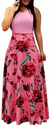 7ce3004197 POTO Women Dresses Summer Sleeveless Floral Print Sundress Maxi Dress  Ladies Casual Swing Evening Party Dress