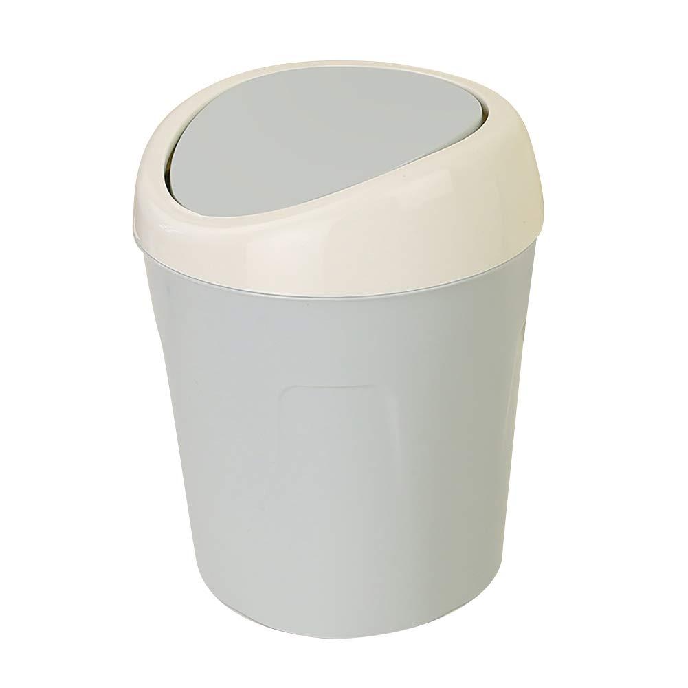 Slendima 5.20'' x 4.02'' x 6.61'' Mini Covered Trash Can Home Desktop Storage Box Organizer Garbage Waste Bin Blue