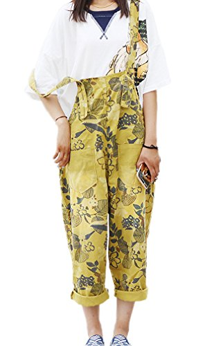 Soojun Women's Loose Fit Pattern Cotton Bib Overalls Shorts Summer #3 Yellow