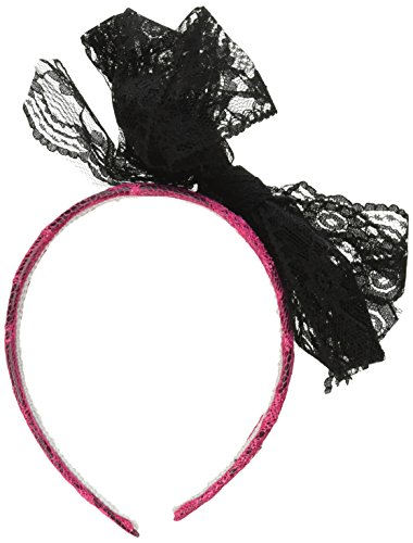 [Forum Novelties 62939 Neon Lace Headband with Bow, Pink] (80s Earrings)