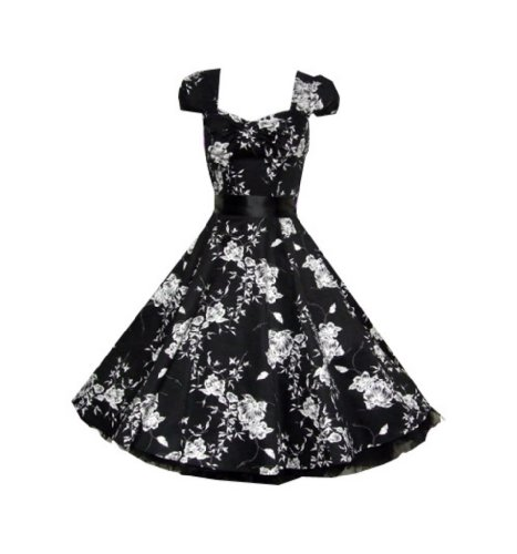 Pretty Kitty Fashion-vestido de flores, color blanco y negro