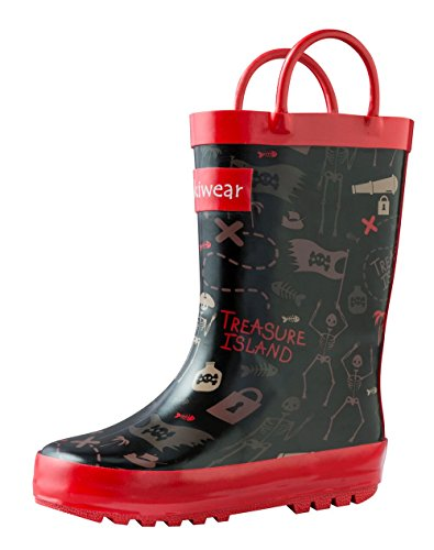 Oakiwear Kids Rubber Rain Boots with Easy-On Handles (13T US Toddler, Pirate Treasure) (Girls Pirate Boots)