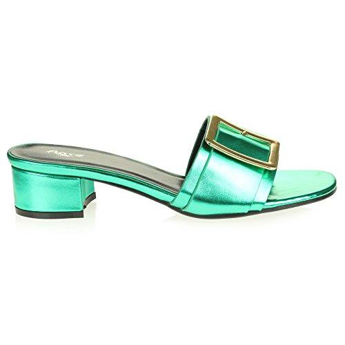 Confort Sandales sur des Femmes Toe Soir Bloquer Chaussures Dames Taille Décontractée Glisser Vert Fête Talon Le Open Brillant gnI4xfUw6n
