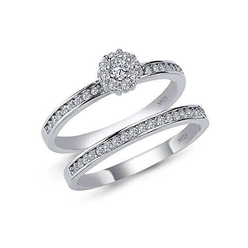 925 Solid Sterling Silver Cushion Halo AAAAA+ Gem Grade Quality ROUND BRILLIANT Cut 2 Pieces RING Set,Bridal Sets Anniversary Promise Engagement Wedding CZ Rings Comfort Fit and Rhodium Plated by CHIARA (Image #3)