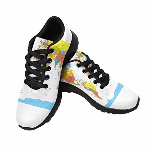 Scarpe Da Corsa Da Trail Running Donna Da Jogging Leggero Mappa Sportiva Del Mondo Da Corsa Con Sneakers Sportive Con Nomi Di Paesi, Paesi E Città Multi 1