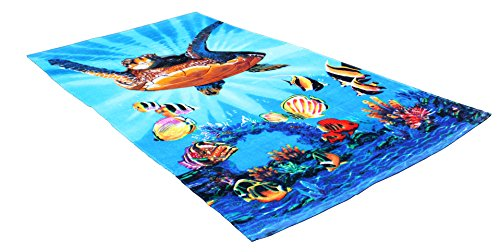 Fashion Colorful Terry Cotton Beach Towel, 30x60'', Soft Absorbent and Dry Fast for Swimming Pool, Beach and Spa-Turtle by J&M Home Fashions