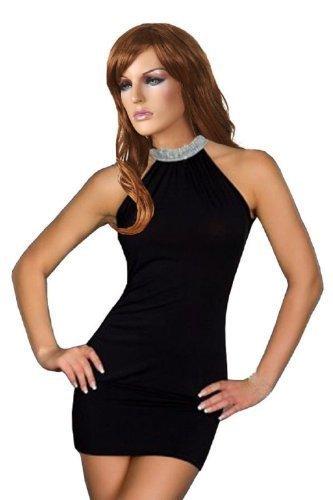 Female Women Hot Neck Rhinestone Mini Skirt Ball Night Club Dress (Sexy Clubwear Rhinestone Mini)