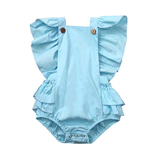 Emimarol Newborn Infant Baby Girl Sleeveless Solid Romper Ruffle Bodysuit Clothes Outfits(6M-24M) Blue