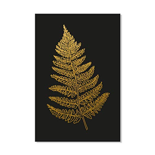 (7CANVAS Fern Leaf Prints-Golden Leaf Picture with Black Background Wall Art Stretched Canvas Poster for Wall Decor Easy to Hang 24x36)