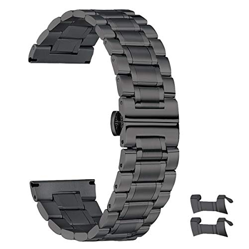 18mm Stainless Steel Watch Band for Men Women High-end 18mm Watch Band Metal Black Watch Bands Replacement Wrist Watch Band Metallic Watch Strap Bracelet with Straight and Curved Ends Double Clasp