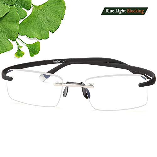 Rimless Computer Reader Reading Glasses Men and Women - Blue Light Blocking Compact Quality Adjustable Slim Ultra Lightweight Memory TR90 Flexible Arms UV. (Glasses+Pouch, 1.5X)