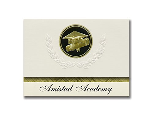Signature Announcements Amistad Academy (New Haven, CT) Graduation Announcements, Presidential style, Elite package of 25 Cap & Diploma Seal. Black & Gold.