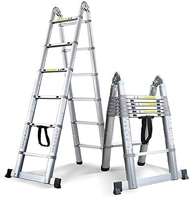 Escalera telescópica de aluminio con barra estabilizadora y ...