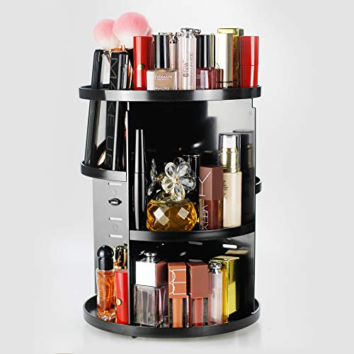 - Unique Home 360 Rotating Makeup Organizer,Large Capacity,Adjustable Makeup Storage ,Fit Lipsticks,Cream,Brushes,Jewerlry,Countertop Shelf, Black Circle