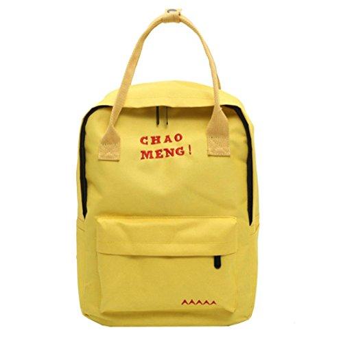 Fille Dos Voyage à Femme Scolaire School Cartable Bag Tote Vintage Toile Mode OverDose Bag en Jaune Sac Sacs Backpack qfES6