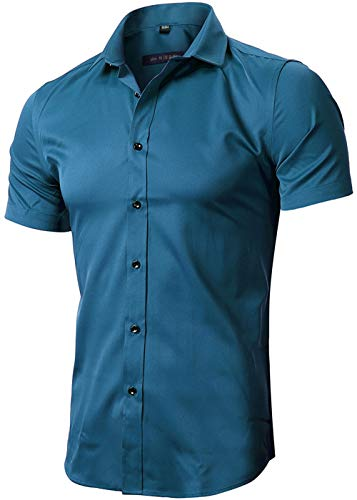 FLY HAWK Mens Tailored Short Sleeve Button Down Shirt with Stretch,Dark Blue, US S