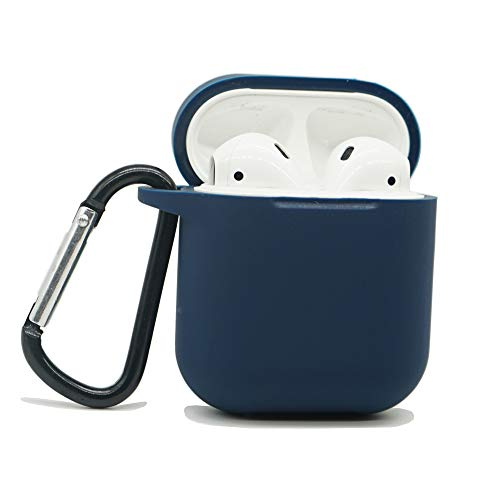 AirSha Compatible for AirPods Case with Keychain,Shockproof Protective Silicone Cover Skin for AirPods Charging Case 2 & 1 (AirPods 1, Midnight Blue)