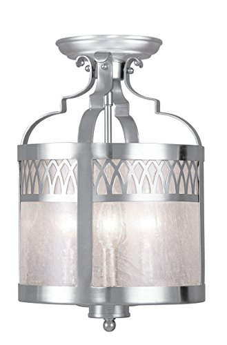 Livex Lighting 4733-91 Flush Mount with Seeded Glass Shades, Brushed Nickel ()