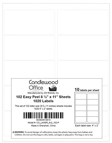 1,020 (10-up) Labels for Laser & Inkjet Printers - 102 full size sheets, each sheet containing 10 labels (label size: 4