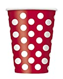 12oz Red Polka Dot Paper Cups, 6ct