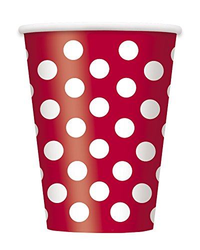 12oz Red Polka Paper Cups