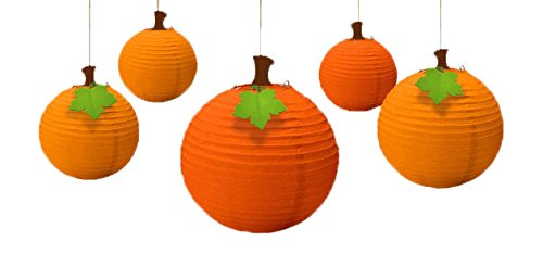 Thanksgiving Themed Party Costumes (Fall Harvest Thanksgiving Party Pumpkin Hanging Lanterns Decoration, Paper, Pack of 5)