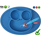 Owl Silicone Placemat - Spill Proof Suction Plate for Baby, Kids, Children, Toddlers by Angel Home (Blue)